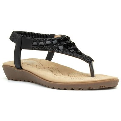 Lilley Womens Slip On Wedge Sandal in Black