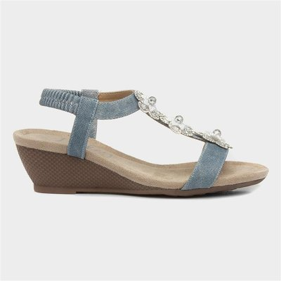 Lilley Womens Denim Floral Wedge Slip On Sandal