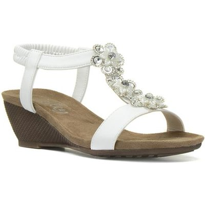 Lilley Womens White Floral Wedge Sandal