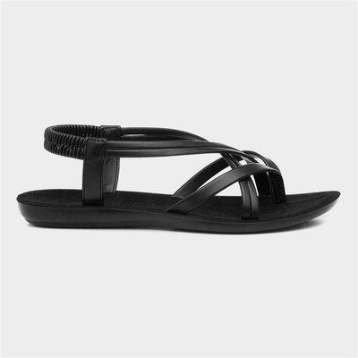 Lilley Womens Black Flat Slip On Sandal
