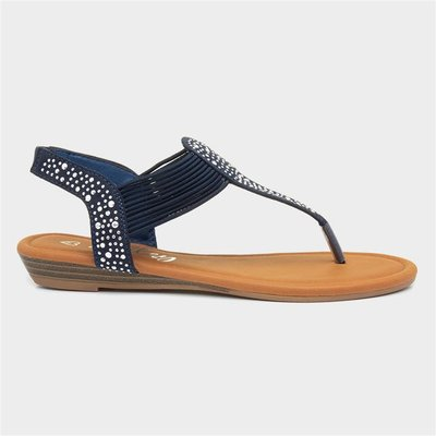 Lilley Womens Navy Studded Toe Post Sandal