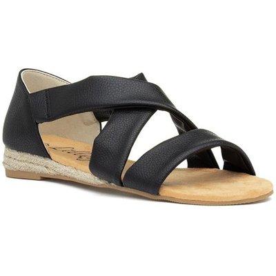 Lilley Womens Black Slip On Flat Sandal