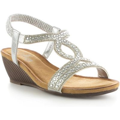 Lilley Womens Silver Diamante Wedge Sandal