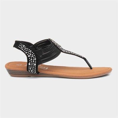 Lilley Womens Black Studded Toe Post Sandal