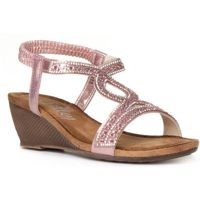 Lilley Womens Pink Diamante Wedge Sandal