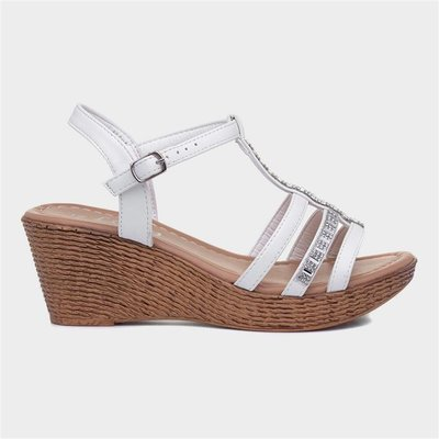 Lilley Womens White Diamante Open Toe Wedge Sandal