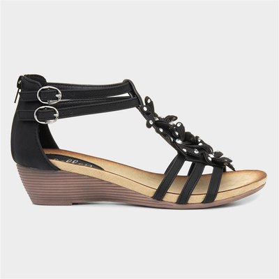 Lilley Womens Black Wedge Sandal with Flowers