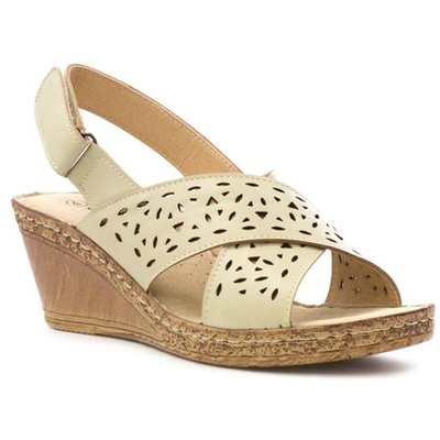 Cushion Walk Womens Beige Cut Out Wedge Sandal