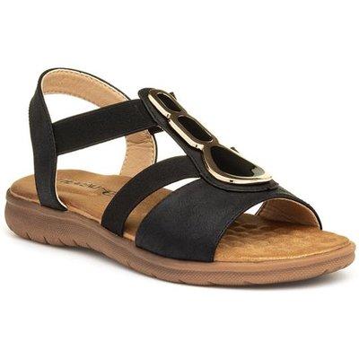 Heavenly Feet Palm Womens Black Flat Sandal
