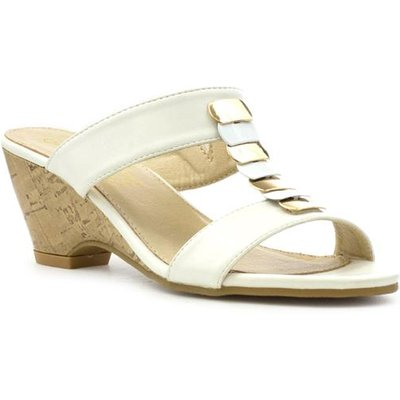 Lilley Womens Cream Wedge Sandal