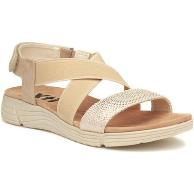 Xti Womens Beige Touch Fasten Wedge Sandal