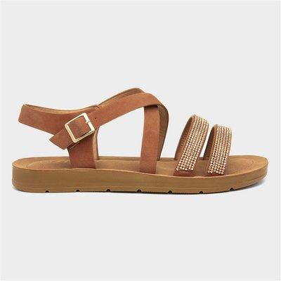 Lilley Womens Tan Strappy Flat Sandal