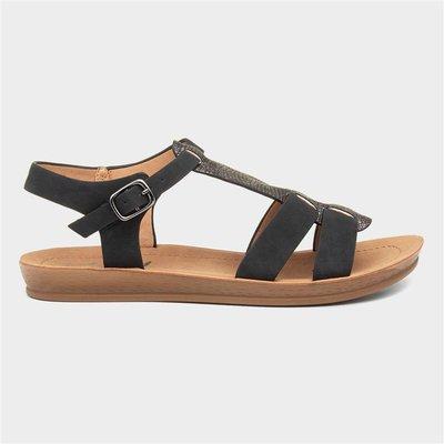 Lilley Womens Black Strappy Flat Sandal