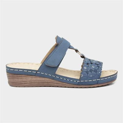 Lilley Womens Blue Wedge Easy Fasten Sandal