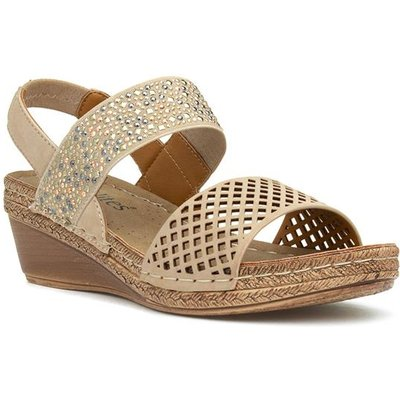 Softlites Womens Taupe Diamante Wedge Sandal