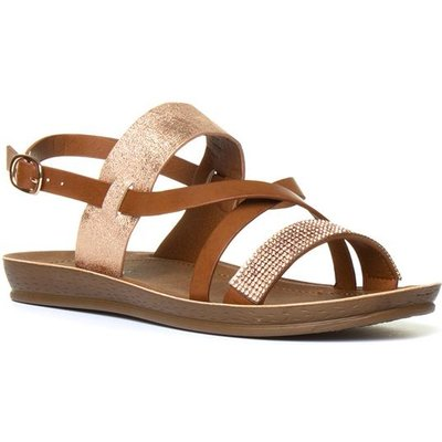 Softlites Womens Tan And Rose Gold Strappy Sandal