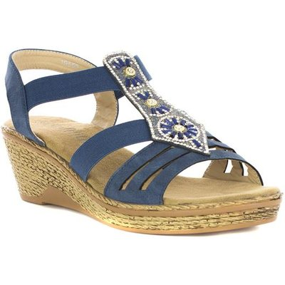 Softlites Womens Navy Diamante Wedge Sandal