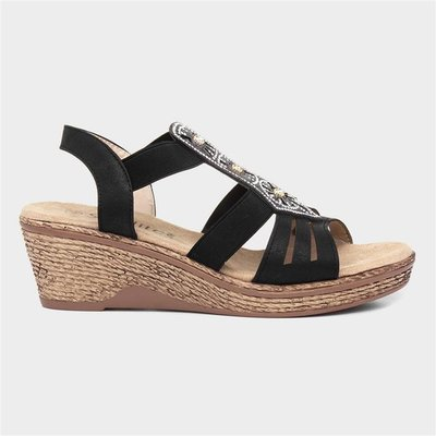 Softlites Womens Black Slip On Wedge Sandal