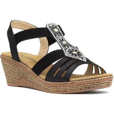 Softlites Womens Black Slip On Wedge Sandal