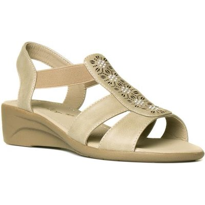 Dr Keller Womens Beige Slip On Wedge Sandal