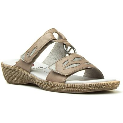 Jana Womens Taupe Leather Easy Fasten Sandal