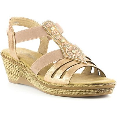Softlites Womens Nude T-Bar Wedge Comfort Sandal