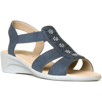 Dr Keller Womens Blue Slip On Wedge Sandal