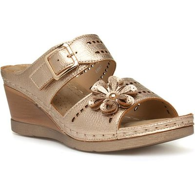 Lilley Womens Bronze Slip On Wedge Sandal