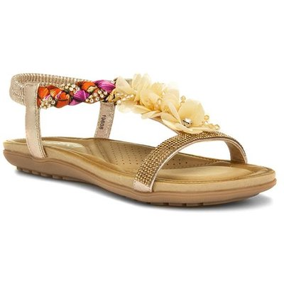 Lilley Womens Gold Floral Slip On Sandal