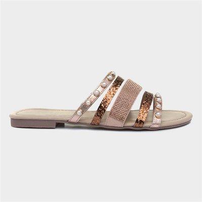 Lilley Womens Bronze Slip On Mule Sandal
