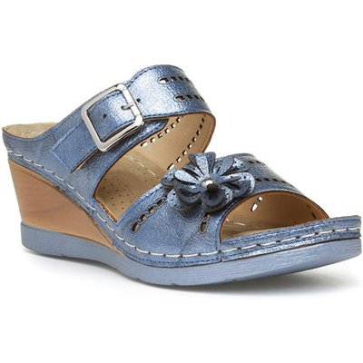 Lilley Womens Blue Metallic Slip On Wedge Sandal