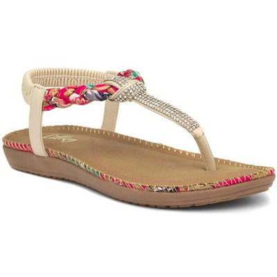 Lilley Womens Beige And Pink Diamante Flat Sandal