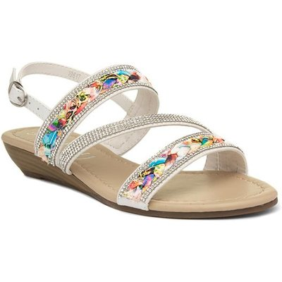 Lilley Womens White Low Wedge Sandal