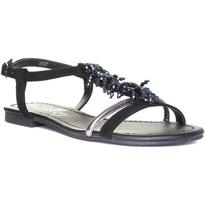 Lilley Womens Black Beaded Strappy Flat Sandal
