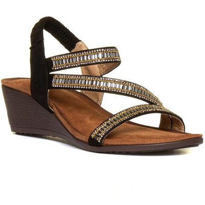 Lunar Sofia Womens Black And Tan Wedge Sandal