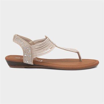 Lilley Womens Beige Slip On Toe Post Sandal