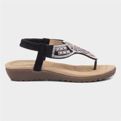 Lilley Womens Black Embellished Toe Post Sandal