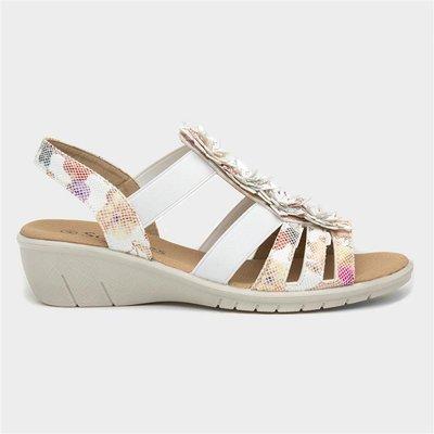 Softlites Womens White Floral Sandals