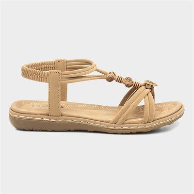 Lilley Womens Beige Flat Slip On Sandal
