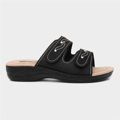 Gezer Womens Black Slip On Mule Sandal