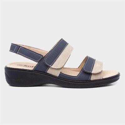 Softlites Womens Navy And Beige Comfort Sandal