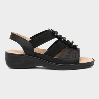 Softlites Womens Black Strappy Comfort Sandal