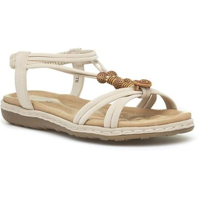 Lilley Womens Beige Slip On Flat Sandal