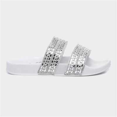 Lilley Womens White Diamante Slider