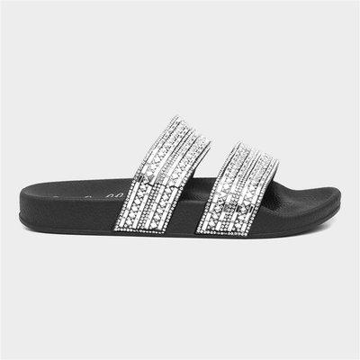 Lilley Womens Black Diamante Slip On Sandal