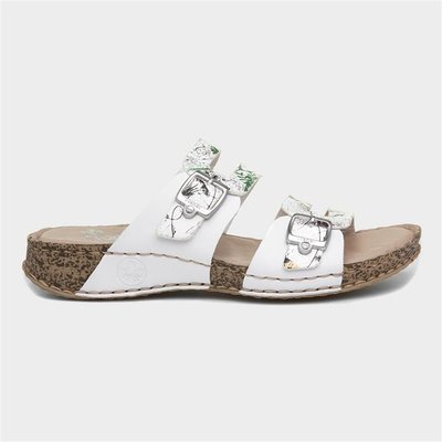 Rieker Womens White Floral Leather Mule Sandal