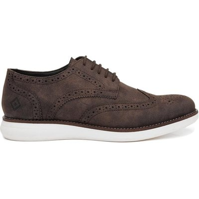 Red Level Mens Lace Up Brogue in Brown