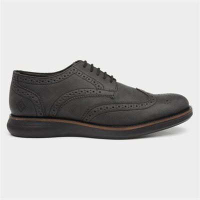 Red Level Mens Lace Up Brogue in Black