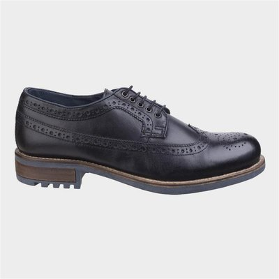 Cotswold Mens Poplar Brogue Leather Shoe in Black