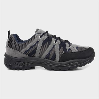 Mens Black And Grey Lace Up Hiking Shoe